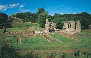 General view Haverfordwest Priory, 5 miles from Mountain Farm. Excavated remains of early thirteenth-century Augustinian priory with the only surviving ecclesiastical medieval garden in Britain.